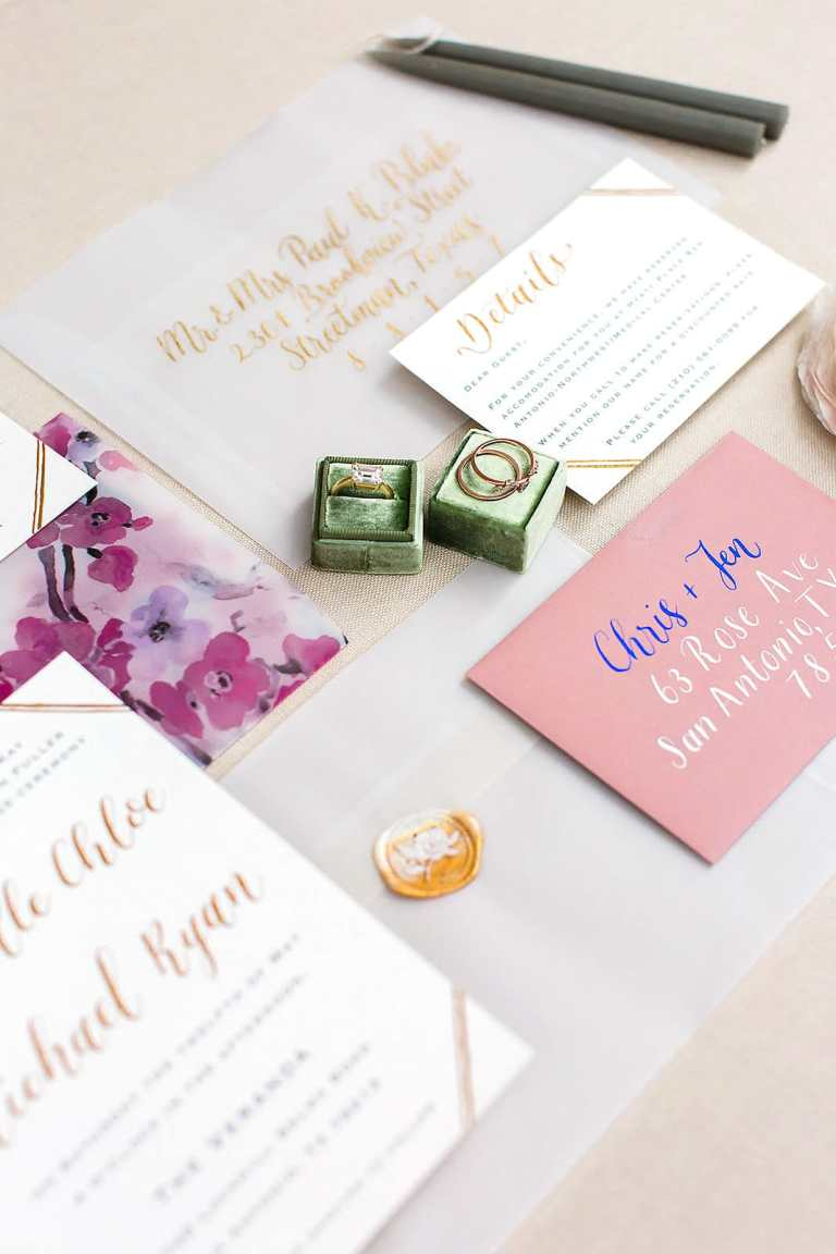 Modern Vintage Minimalistic Invitation with gold calligraphy at The Veranda by CalliRosa custom wedding invitations in San Antonio Texas