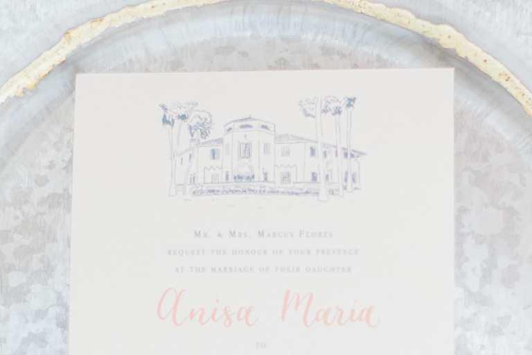Modern fine art invitation with venue illustration and blush calligraphy at McNay Art Museum by CalliRosa custom wedding invitations in San Antonio Texas