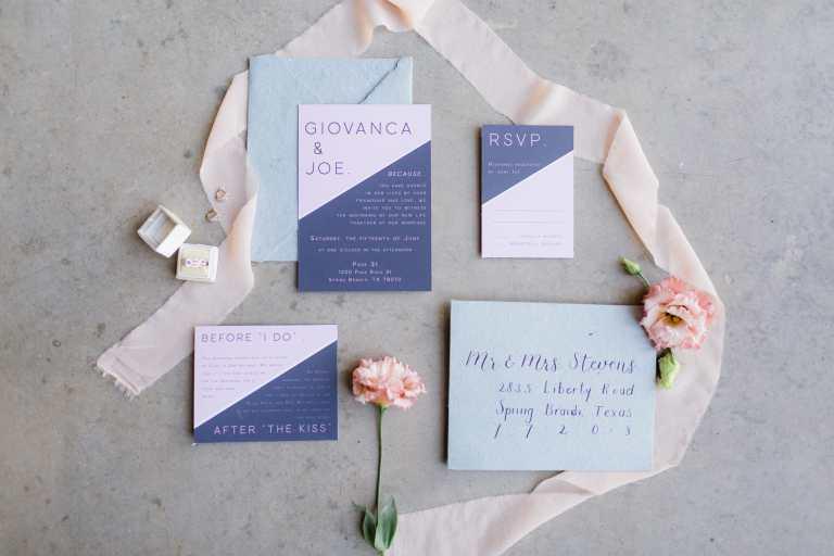 Modern two tone invitation suite at Park 31 by CalliRosa custom wedding invitations in San Antonio Texas