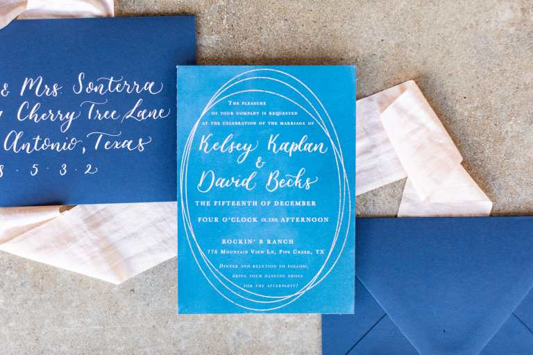 Navy Dark Blue Modern Geometric Invitation at Rockin B Ranch by CalliRosa custom wedding invitations in San Antonio Texas