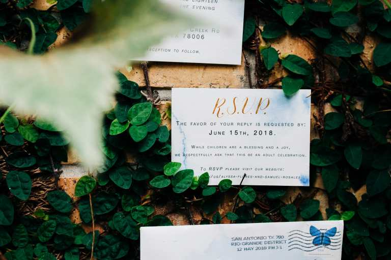 Pale Blue Watercolor Invitation suite with Gold Calligraphy and wax seal at The Milestone Boerne by CalliRosa custom wedding invitations in San Antonio Texas