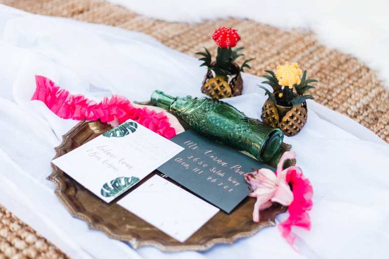Pineapple Hawaii Tropical Invitation Suite by CalliRosa Custom Wedding Invitations in San Antonio Texas