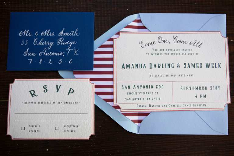 Red and Blue Carnival Inspired Invitation Suite at San Antonio Zoo by CalliRosa Custom Wedding Invitations in San Antonio Texas