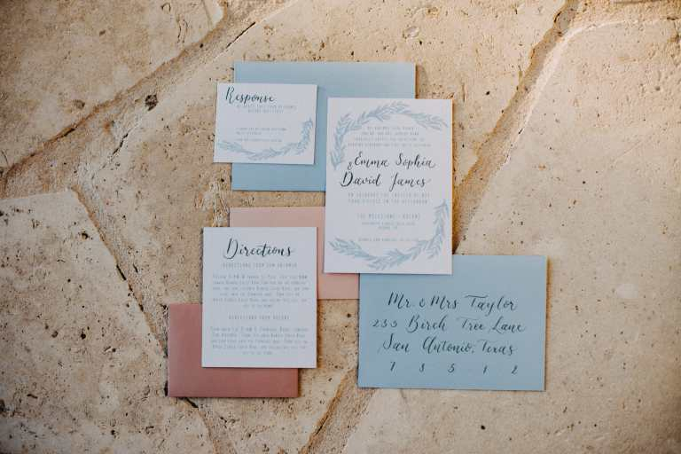 Sky Blue Modern floral geometric Invitation with green calligraphy at The The Milestone Boerne by CalliRosa custom wedding invitations in San Antonio Texas
