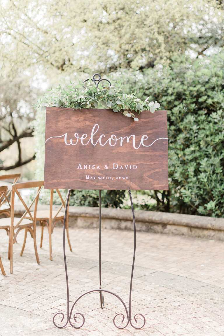 Wooden Welcome Sign at McNay Art Museum by CalliRosa Calligrapher in San Antonio Texas