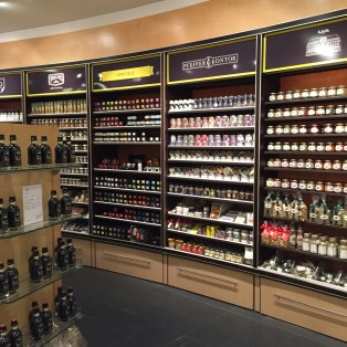 An entire wall was devoted to spices, which made a colorful display.