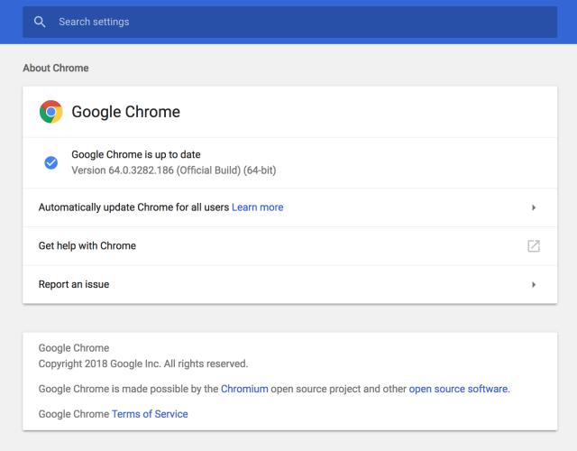 google chrome settings window