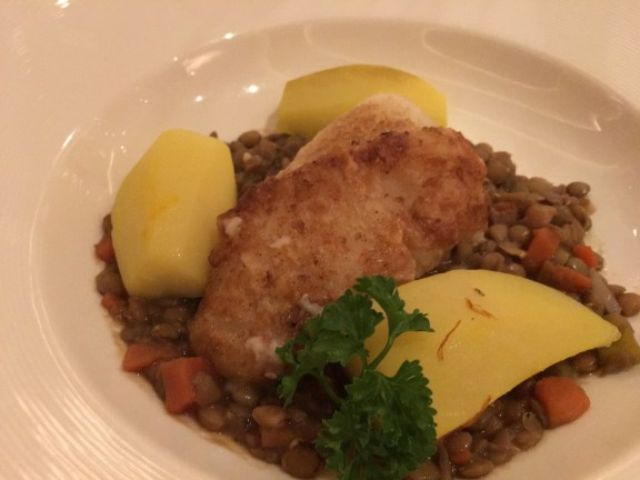 Cod over lentils