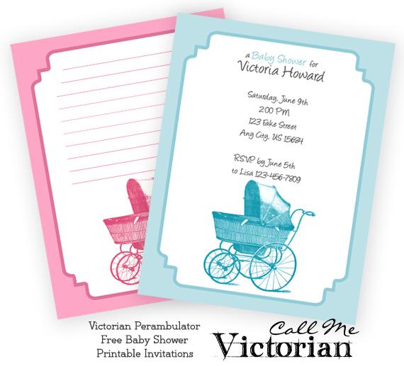 Free Printable Perambulator Baby Shower Invitations Call