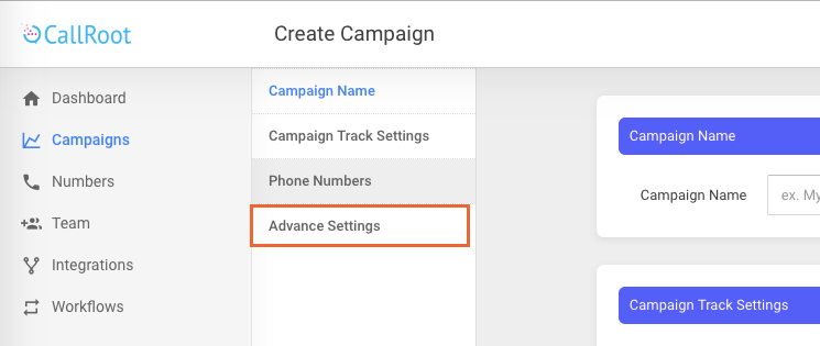 Callroot Advance Settings