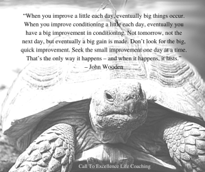 John Wooden quote on daily improvement
