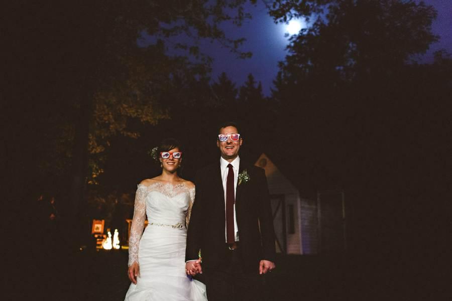 night portrait at niagara backyard wedding