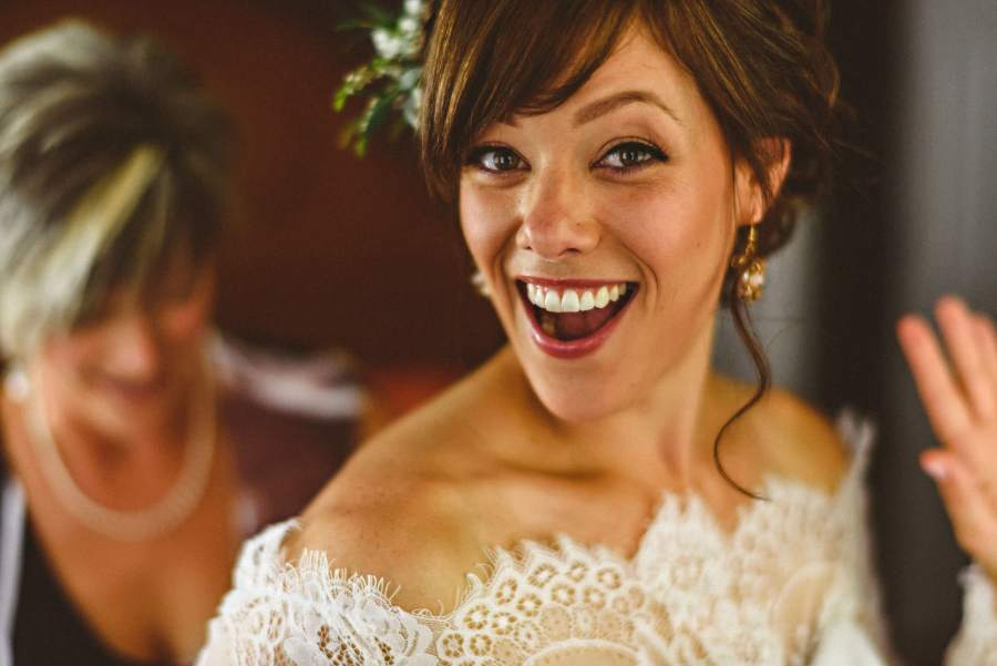 laughing bride before wedding
