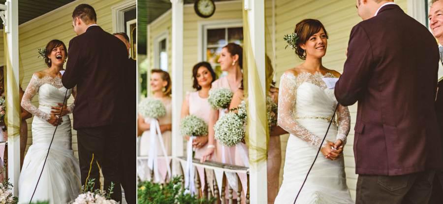 bridesmaids laughing at wedding