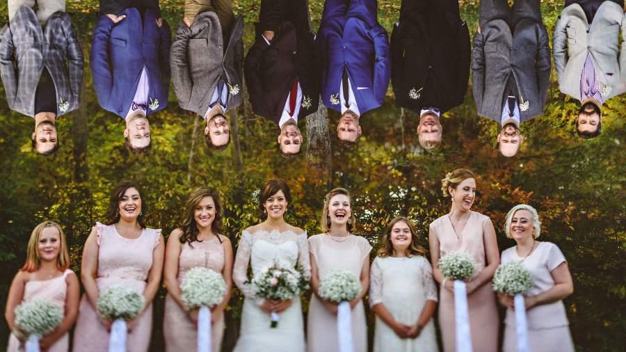 creative wedding party photograph