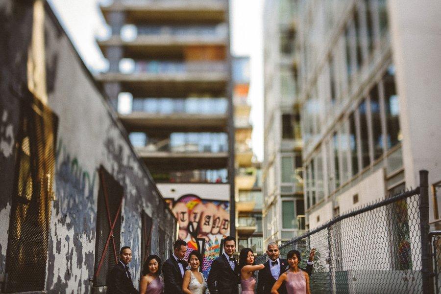 Wedding party tilt shift photograph