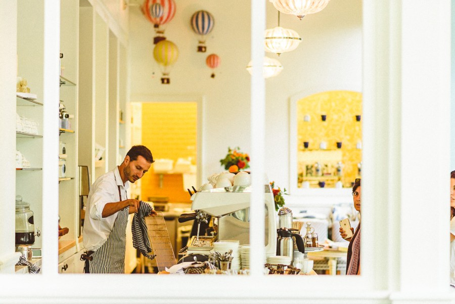 Barista at Colette Restaurant making coffee