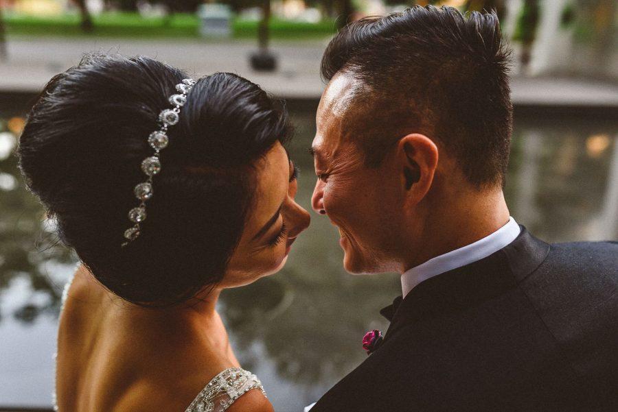 Portraits of newlyweds outside Thompson Hotel Wedding