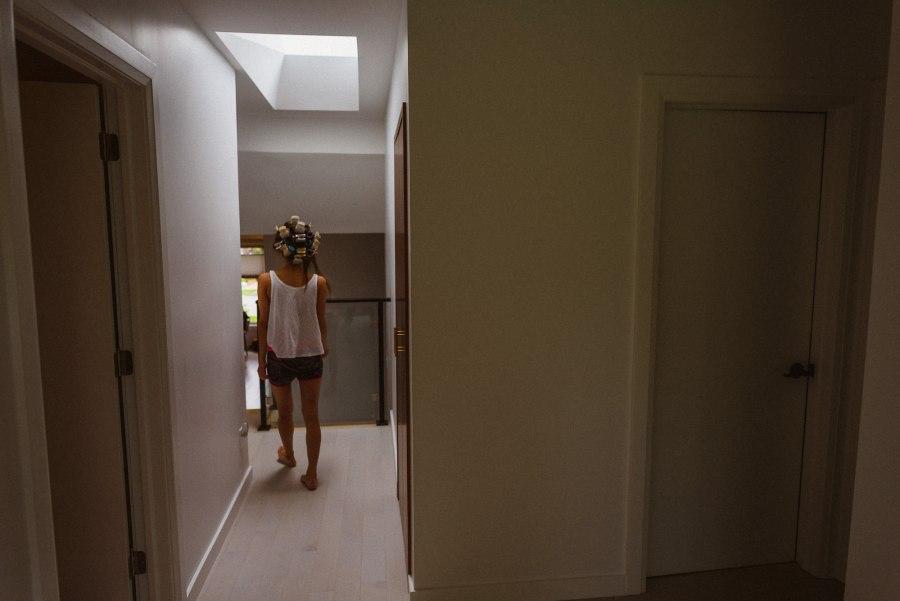 bride walking in house