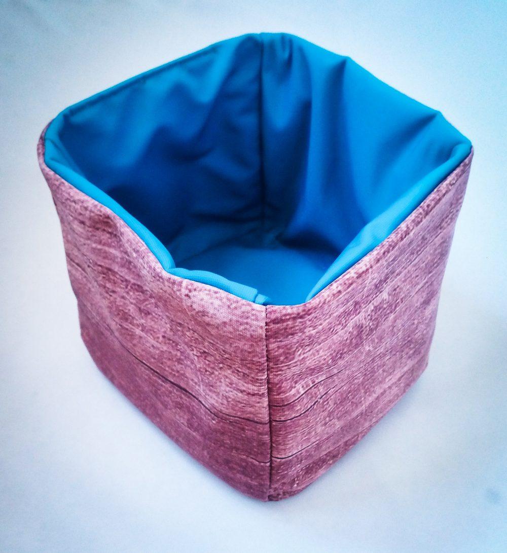 Handmade Fabric Box, Wood/Dark Turquoise
