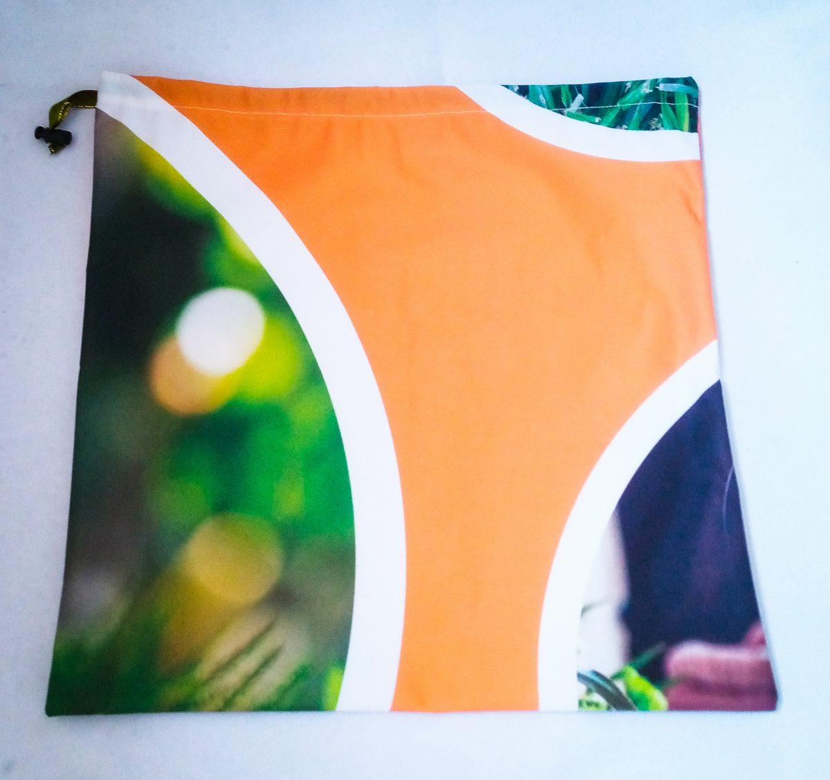 Drawstring Bag… Orange & Garden Circles