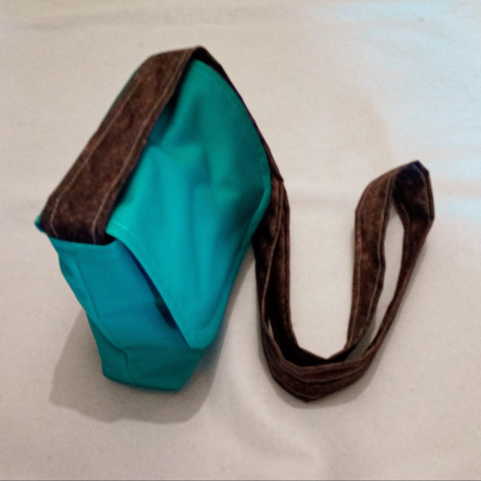 Handmade Fabric Cross Body Small Handbag, Green Hexagon, Blue & Wood