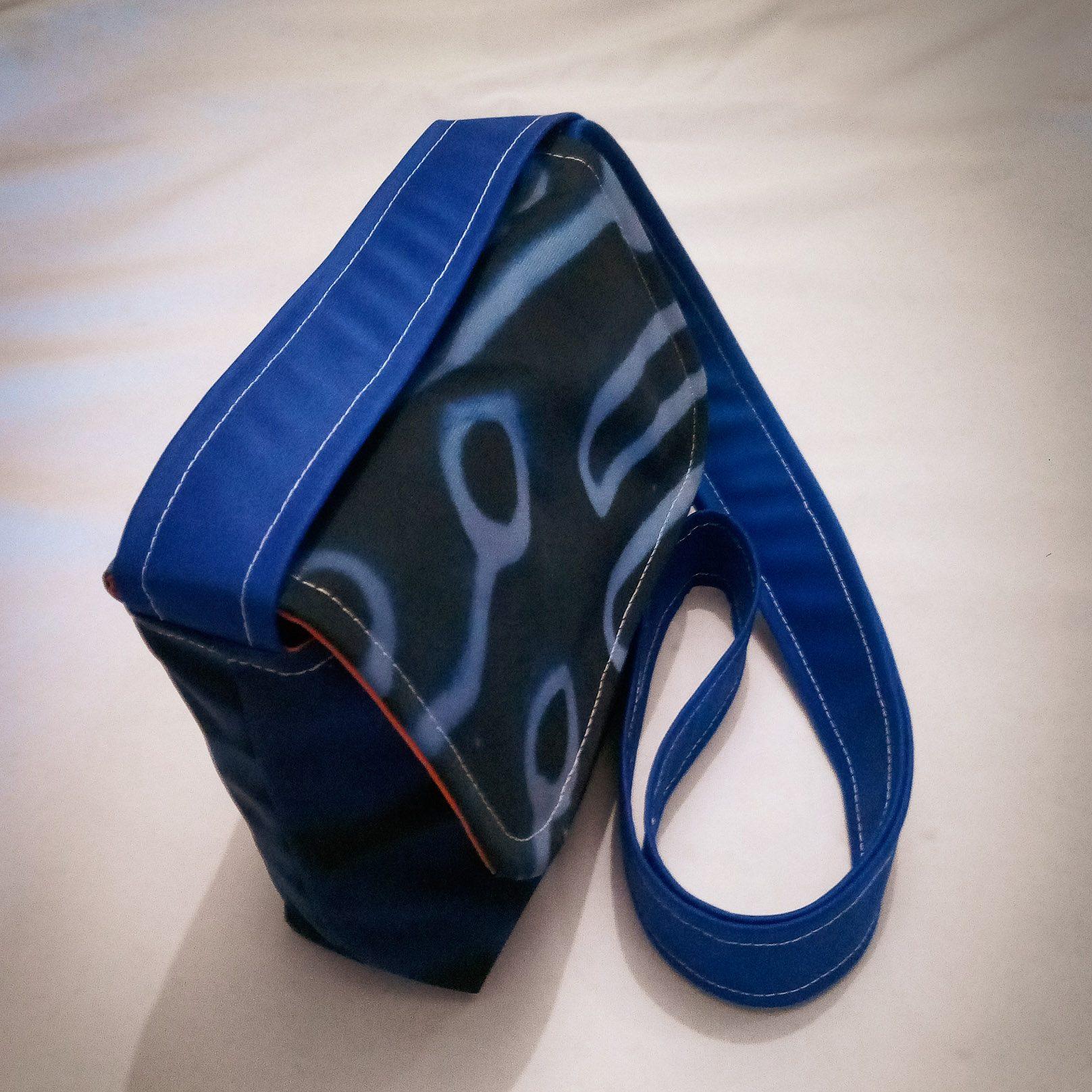 Handmade Fabric Cross Body Small Handbag, Blue Circuits & Orange
