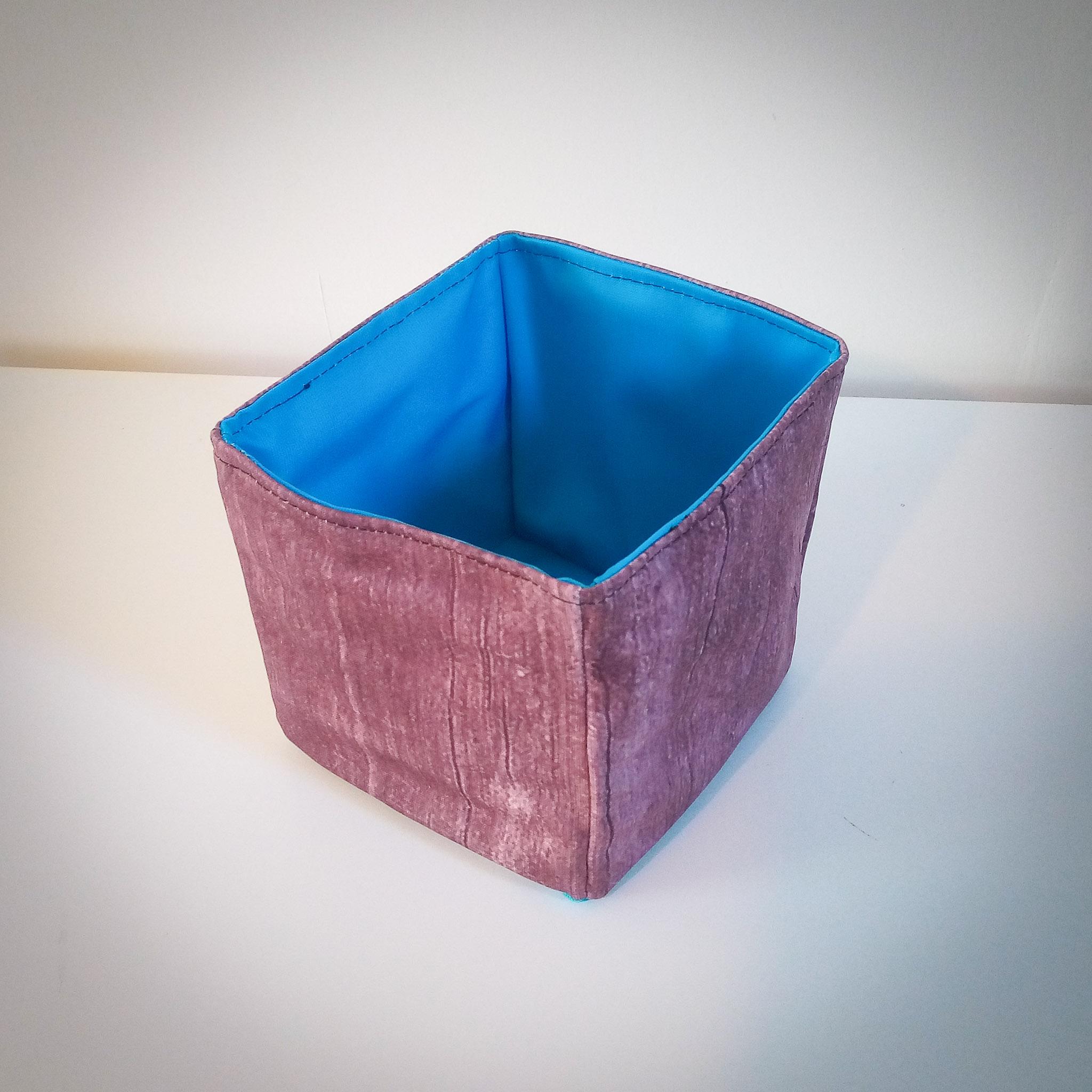 Handmade Fabric Small Box, Wood/Bright Blue