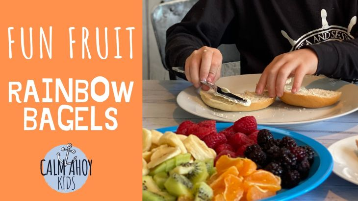 fun fruit rainbow bagels recipe