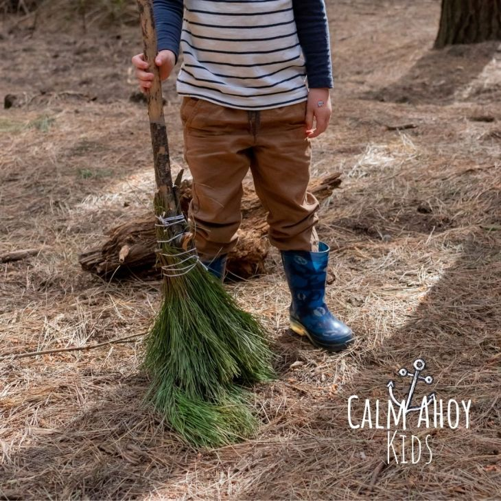 Calming Autumn Activity - sweeping leaves