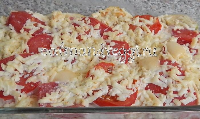Кабачки с помидорами и сыром запеченные в духовке. Рецепт.