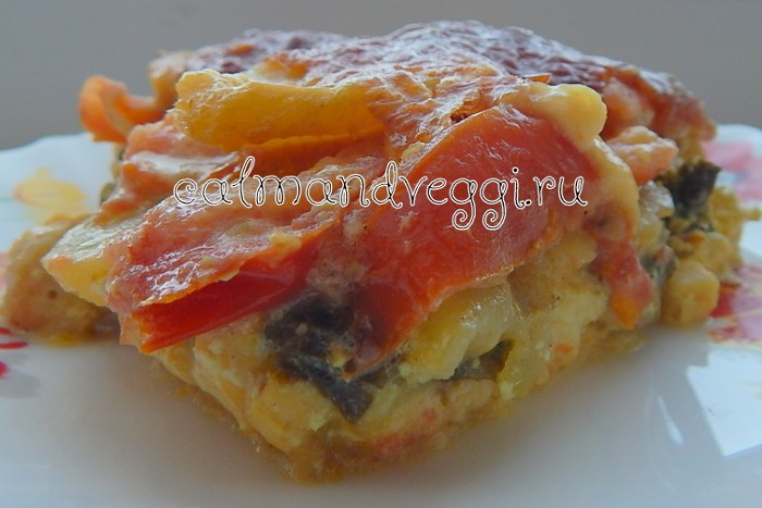 Вегетарианская картофельная запеканка с нори, помидорами и сыром. Рецепт.