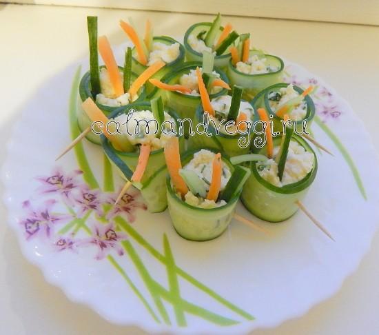 роллы из огурцов с сыром, пошаговый рецепт с фото