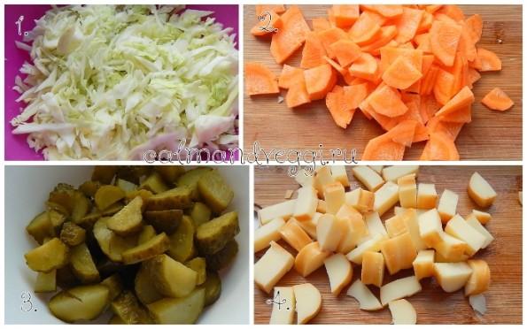 Вегетарианская солянка из капусты с копченым сыром рецепт с фото пошаговый