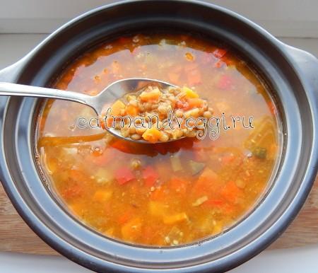 пряный суп самбар из чечевицы и овощей