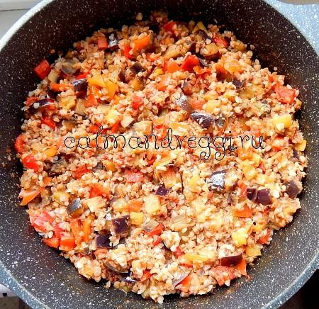 гречка с овощами на сковороде рецепт с фото
