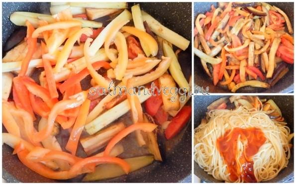 Спагетти с овощами в кисло-сладком соусе рецепт с фото