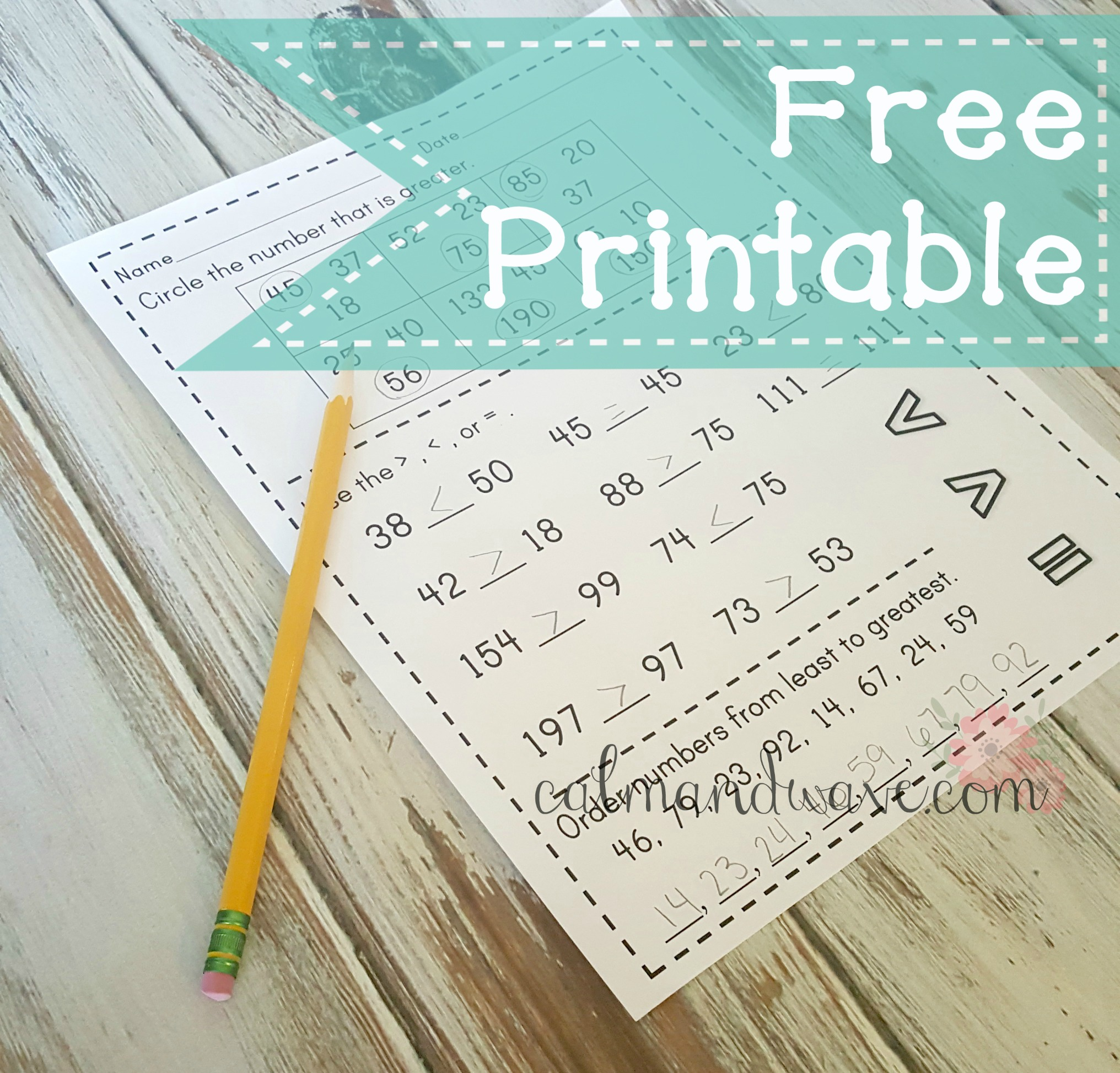 Free Greater Than, Less Than, and Equal To Printable Worksheet ...