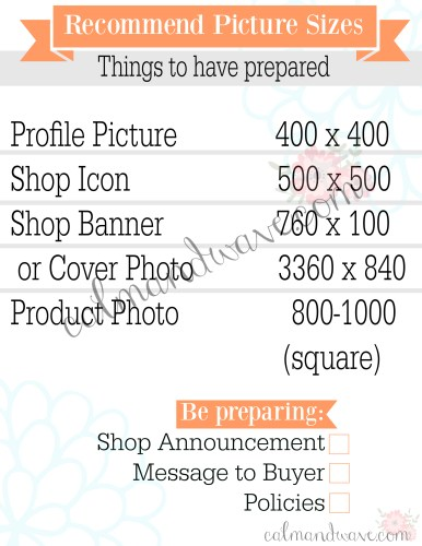 Setting up an Etsy shop profile shop icon shop banner cover photo best size for etsy picture