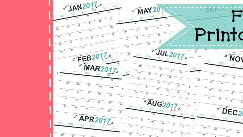 2017 Free Printable Monthly Calendar | 2 months per page | New Year's Resolution | Weight Tracker