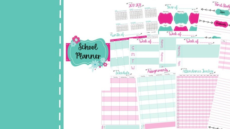 Free Homeschool Planner Pages | Daily, Weekly, and Monthly Pages, Unit Study Planner, Year 2017-2018, Attendance Tracker, Schedule, Assignment Pages