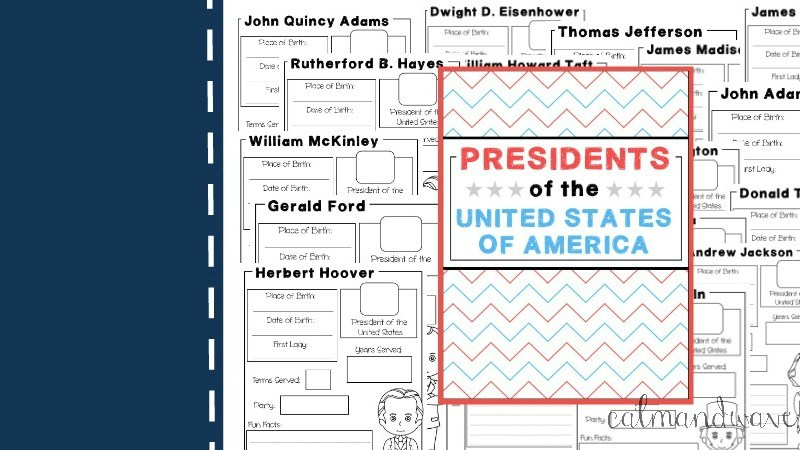 Homeschool Unit Study American Presidents | Social Studies | History | Free Printable