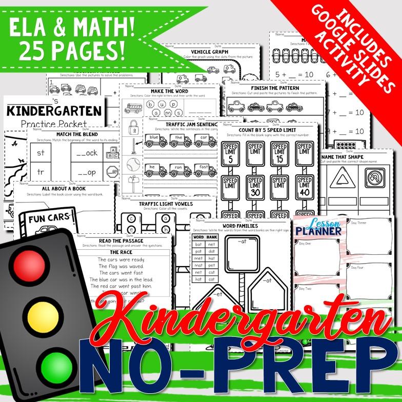 Kindergarten No-Prep Packet | Car/Vehicle Themed | English ...
