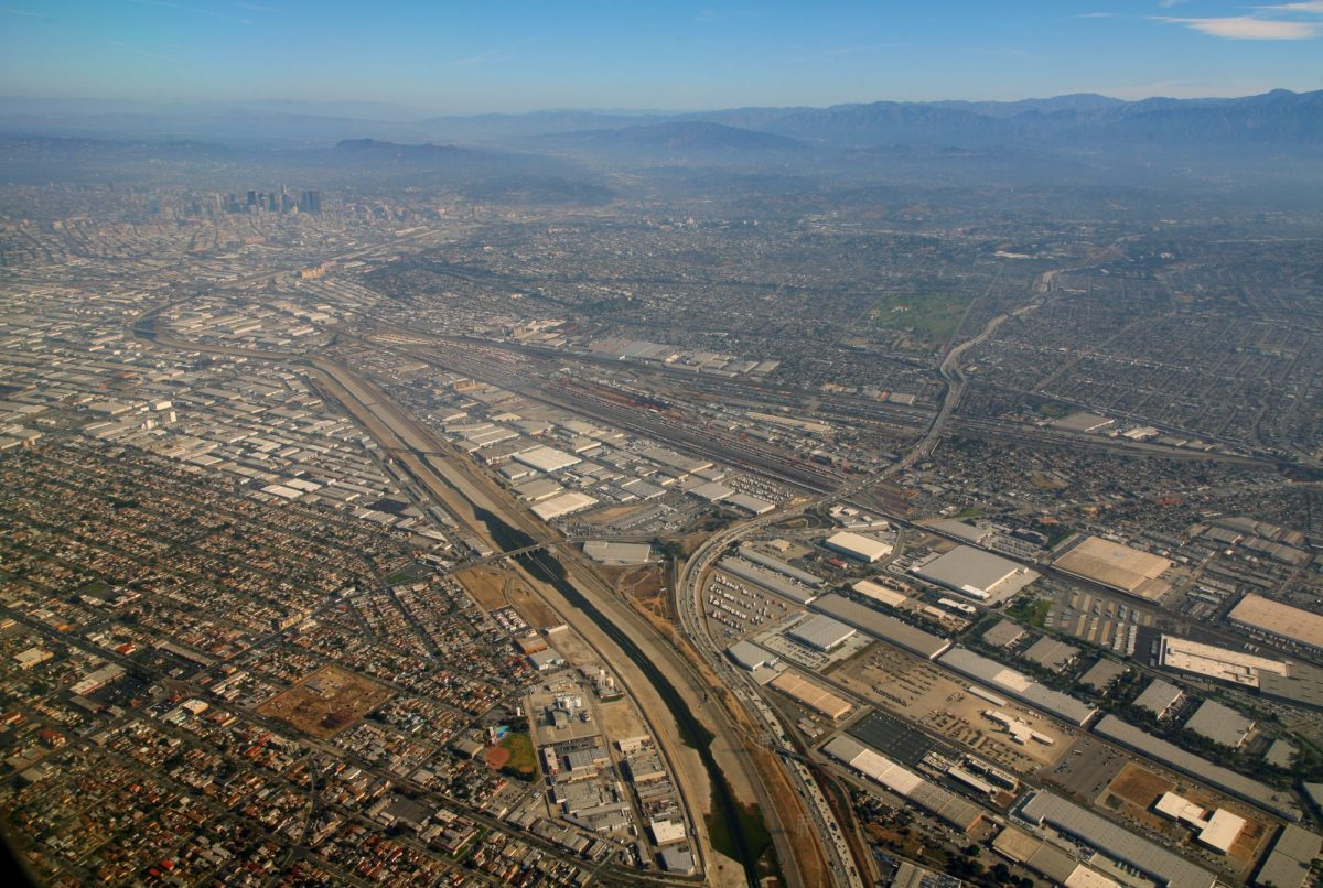 A view of the east side of Los Angeles, The Burlington Northern Hobart Yard — the largest intermodal freight yard in the U.S., located in City of Commerce, on the East side of Los Angeles. Photo by Doc Searls via Flickr
