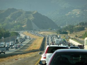 Smoggy traffic in the Newhall Pass.
