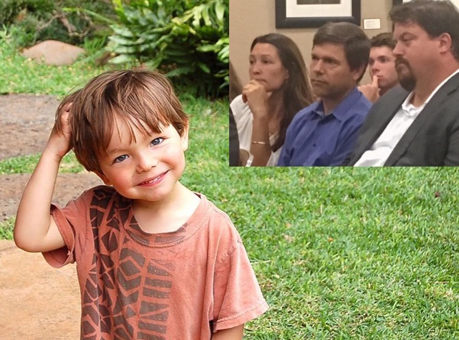 Caleb Sears was 6 when he died after anesthesia during oral surgery (photo courtesy of the Sears family.) Inset above: his mother Eliza, father Tim and uncle Sebastian Kaplan at Monday's hearing.