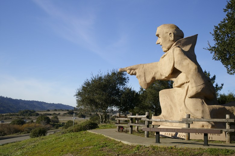 This statue of Junipero Serra towers over Interstate 280 near the Crystal Springs Reservoir south of San Francisco. Photo by Mike Fernwood via Flickr