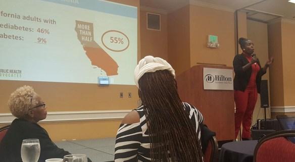 Flojaune Cofer makes a diabetes presentation. Image courtesy of Public Health Advocates