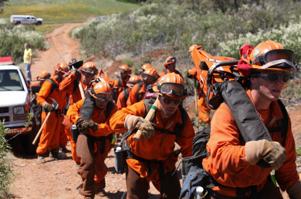 Inmates have worked fighting recent wildfires in California. Photo via California Department of Corrections and Rehabilitation