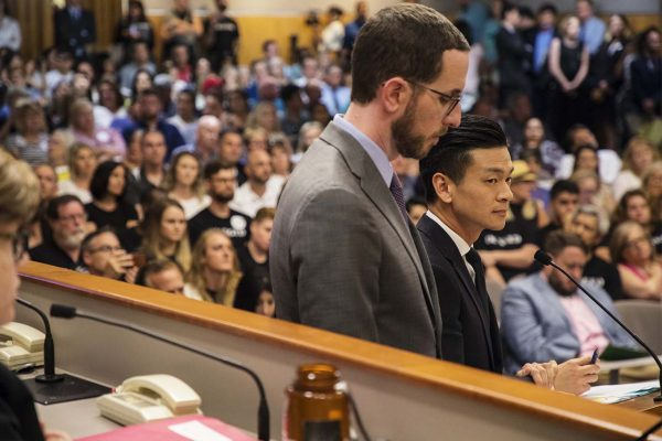 Sen. Scott Wiener of San Francisco and Assemblyman Evan Low of Campbell, both Democrats who are gay, present a bill to ban for-profit conversion therapy services in California. Photo by Robbie Short for CALmatters